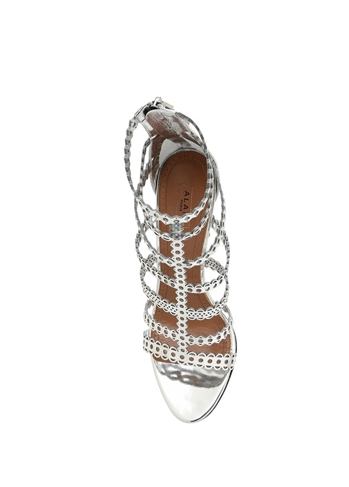 Silver Lazer Kesimli Kadın Deri Sandalet