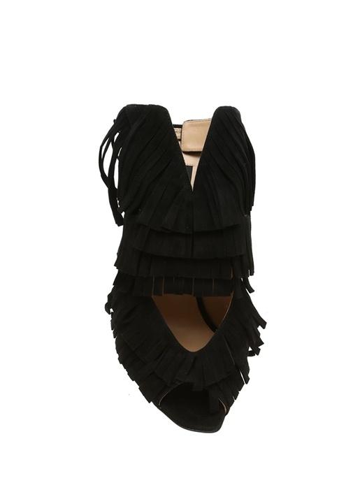 Siyah Püsküllü Pencere Detaylı Kadın Süet Sandalet
