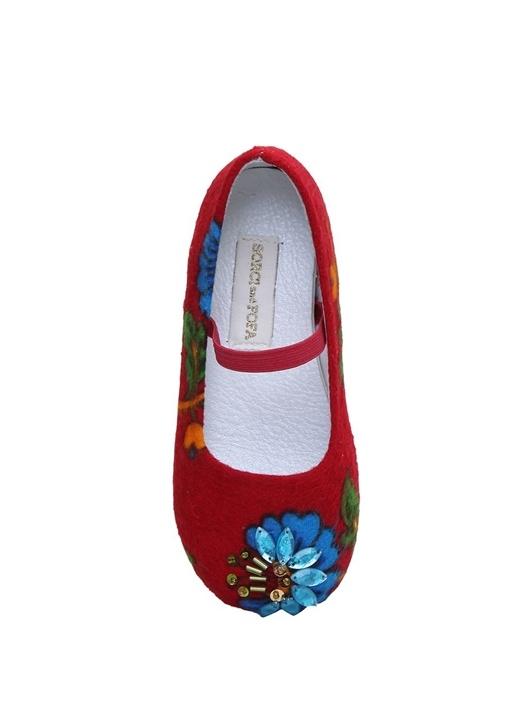 Kırmızı Çiçek Desenli El Yapımı Taşlı Babet