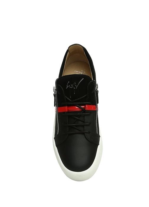 Siyah Kırmızı Şeritli Erkek Deri Sneaker