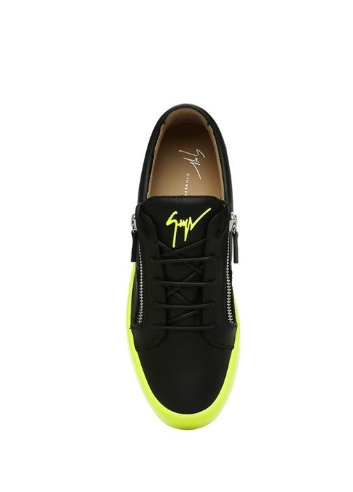 FrankieFluo Siyah Sarı Logolu Erkek Deri Sneaker