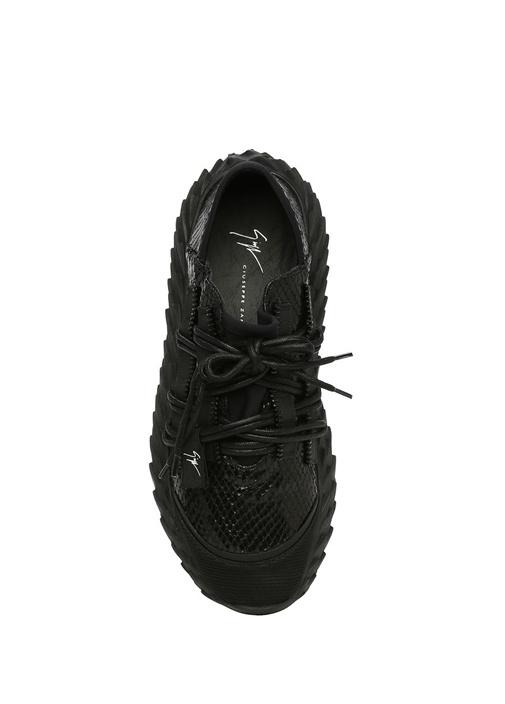 Urchin Siyah Krokodil Dokulu Erkek DeriSneaker