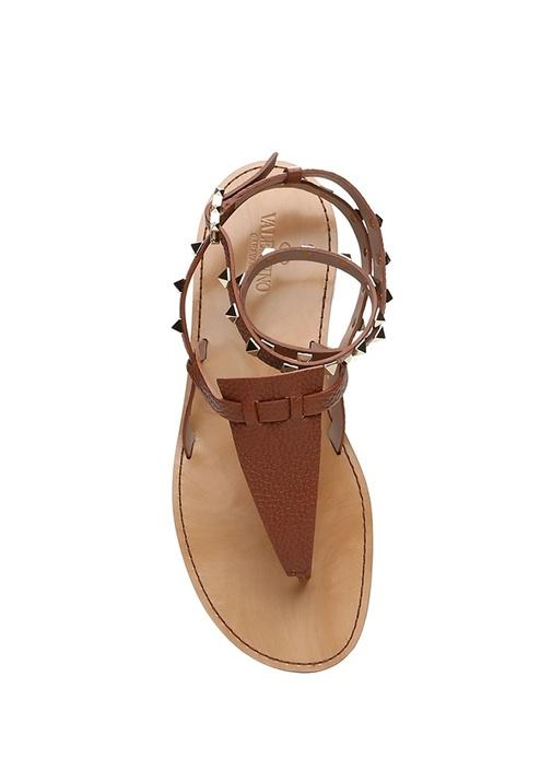 Rockstud Taba Kadın Deri Sandalet
