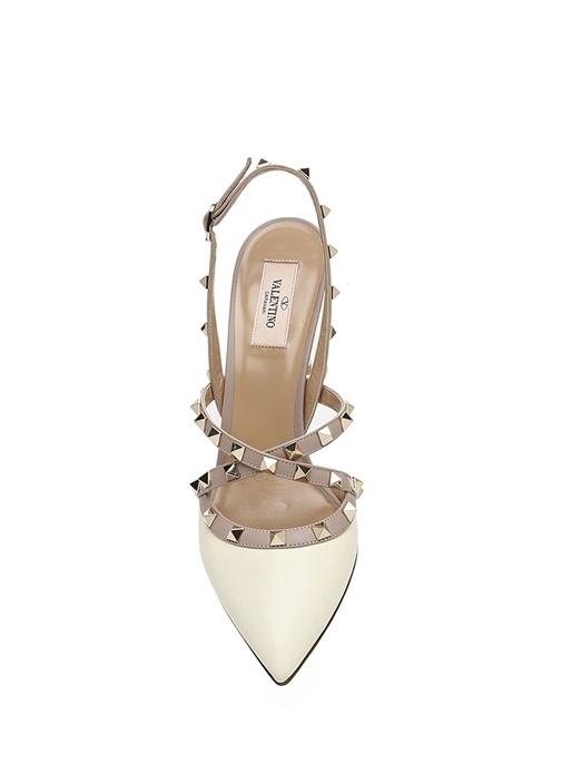 Rockstud Beyaz Kadın Deri Sandalet
