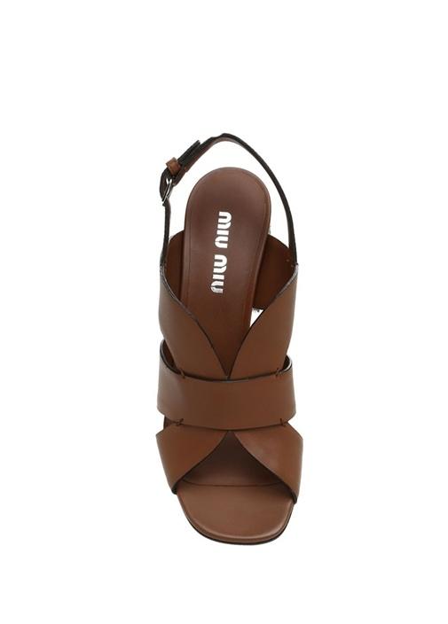 Taba Topuk Detaylı Kadın Deri Sandalet