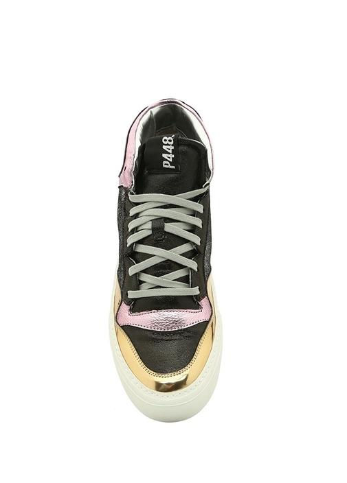 A8 Space Metalik Renk Detaylı Kadın Deri Sneaker