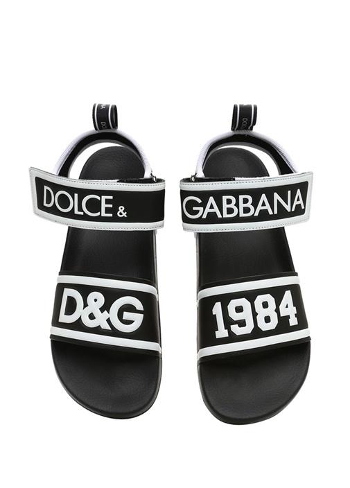 Siyah Kabartmalı Logolu Erkek Sandalet
