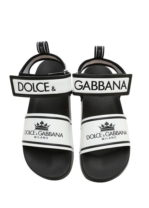 Beyaz Siyah Logolu Erkek Sandalet