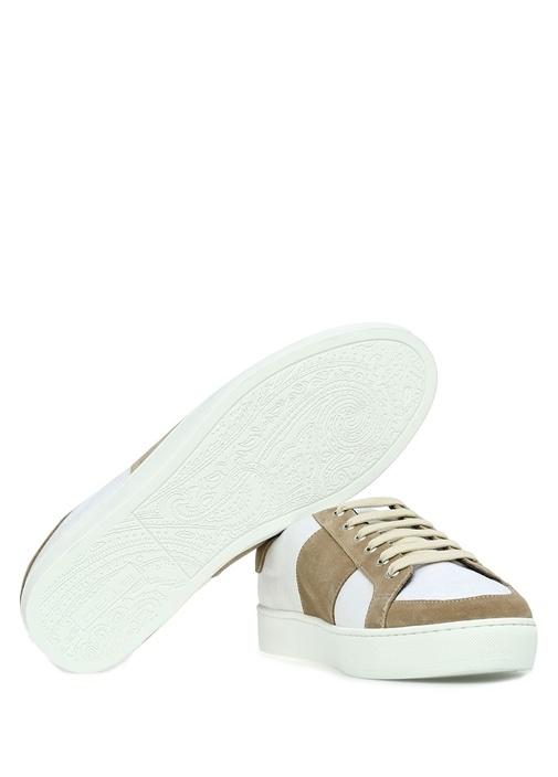 Beyaz Vizon Şal Desenli Erkek Deri Sneaker
