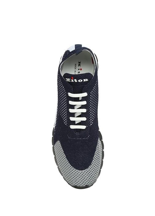 Lacivert Beyaz File Dokulu Erkek Sneaker