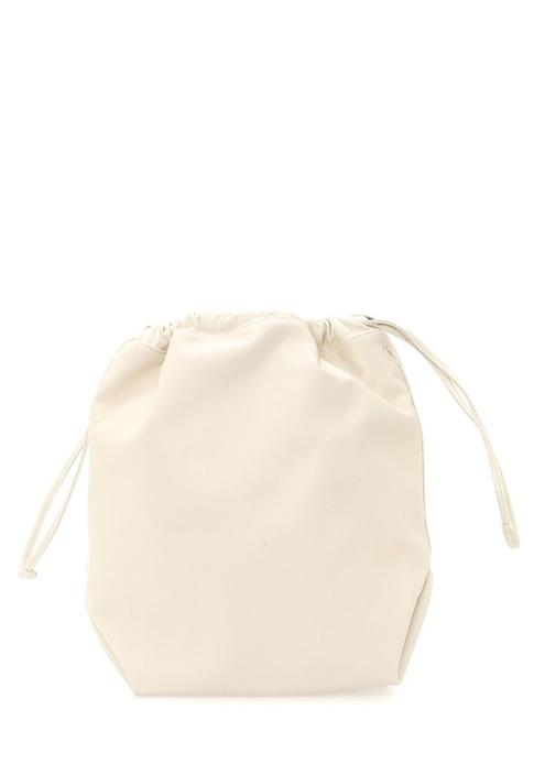 Teddy Ekru Logo Baskılı Kadın Büzgülü Deri Çanta