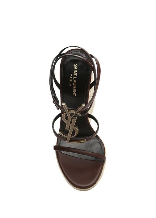 Cassandra Kahverengi Logolu Kadın Deri Sandalet