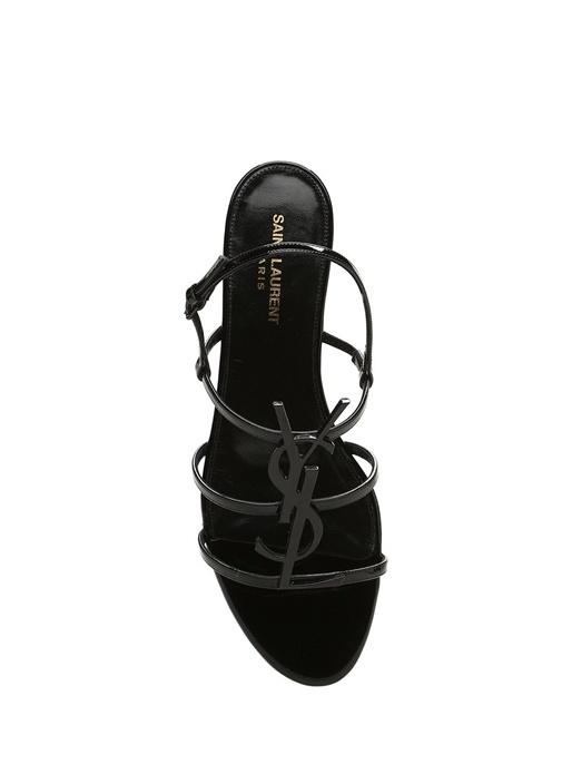 Cassandra Siyah Logolu Kadın Deri Sandalet