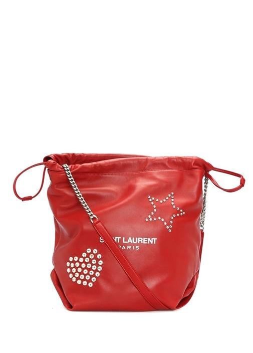 Teddy Kırmızı Büzgülü Kadın Deri Çanta