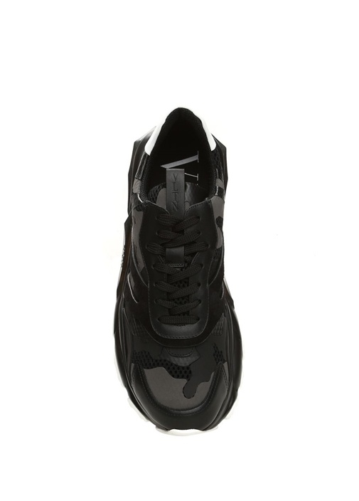 Bounce Siyah Kamuflaj Desenli Erkek Deri Sneaker