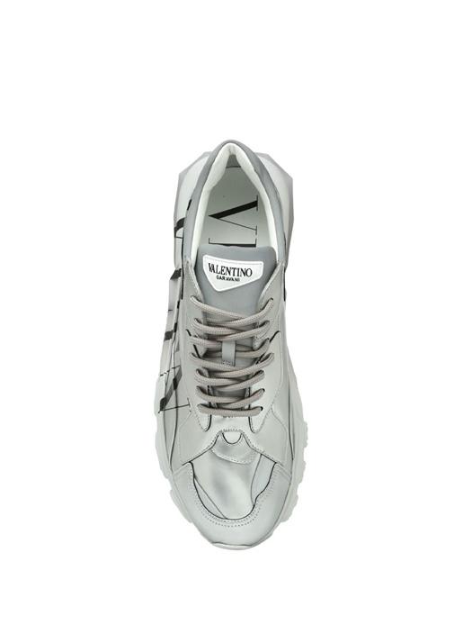 Metalik Silver Logo Baskılı Erkek Deri Sneaker
