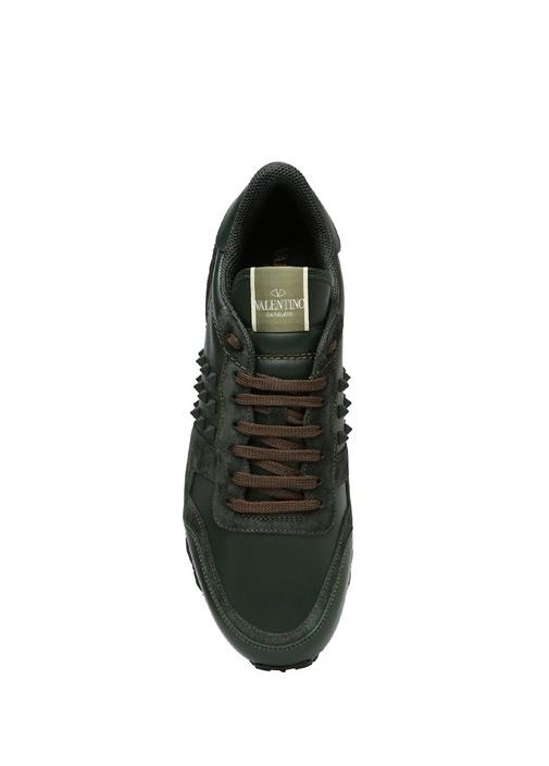 Rockstud Yeşil Erkek Deri Sneaker