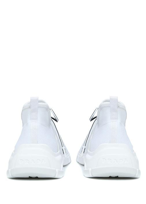 Beyaz Logo Jakarlı Çorap Formlu Kadın Sneaker