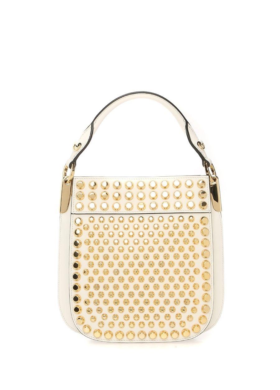 95713402dd029 Modalite - Beymen PRADA Beyaz Gold Troklu Kadın Deri Omuz Çantası