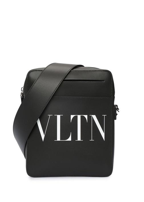Siyah Logo Baskılı Erkek Deri Çanta