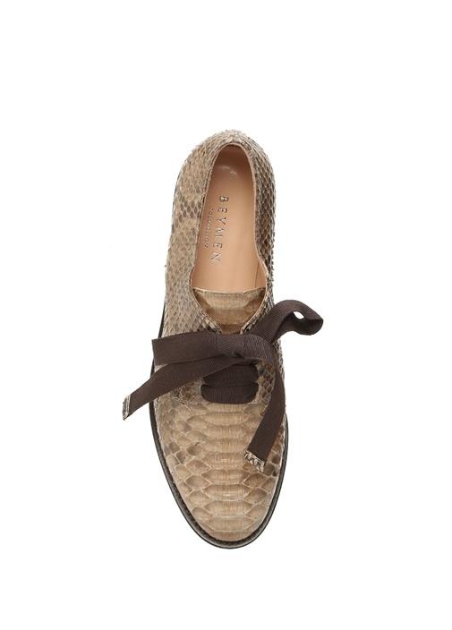 Bej Yılan Derisi Desenli Kadın Deri Loafer