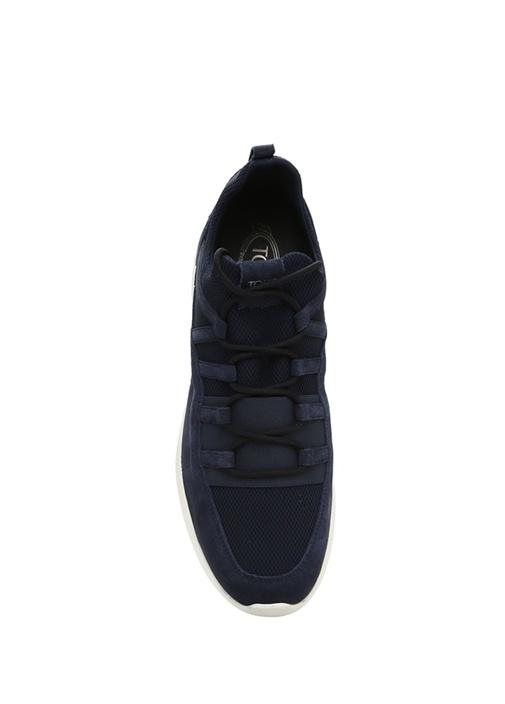 Lacivert File Dokulu Logolu Erkek Süet Sneaker
