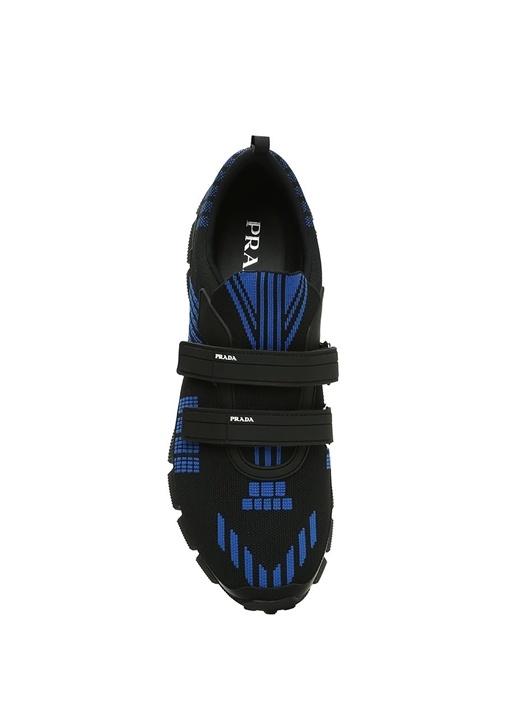 Siyah Mavi Örgü Dokulu Erkek Sneaker