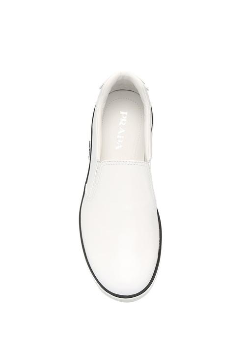 Beyaz Tabanı Şeritli Erkek Deri Loafer