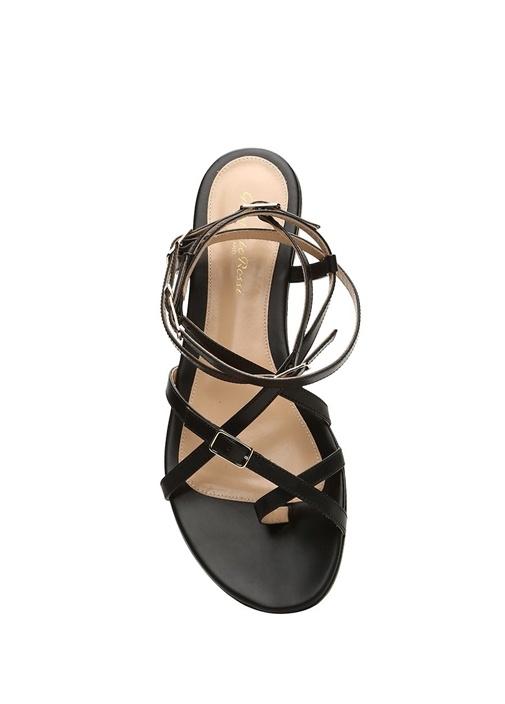 Cassandra Siyah Kadın Deri Sandalet