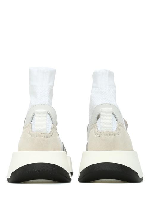 Beyaz File Dokulu Çorap Formlu Kadın Sneaker