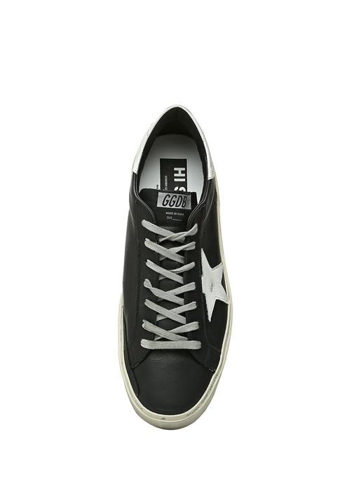 Hi Star Siyah Beyaz Kadın Deri Sneaker