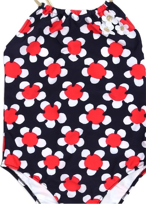 Lacivert Çiçek Baskılı Patchli Kız Çocuk Mayo