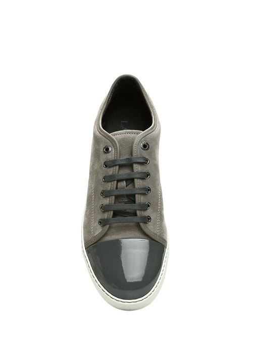 Gri Garni Detaylı Erkek Deri Sneaker