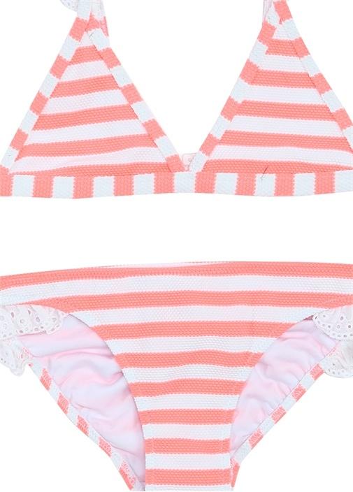 Pembe Beyaz Fistolu Kız Çocuk Bikini Takımı
