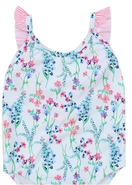 Frill Beyaz Fırfırlı Çiçek Baskılı Kız Çocuk Mayo