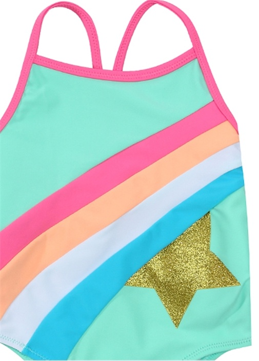 Colorblocked Yıldız Baskılı Kız Çocuk Mayo