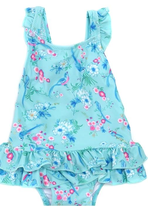 Frill Mavi Baskılı Fırfır Detaylı Kız Çocuk Mayo