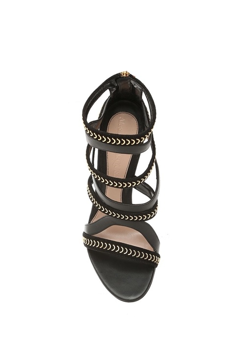 Pin Heel Siyah Gold Şeritli Kadın Süet Sandalet