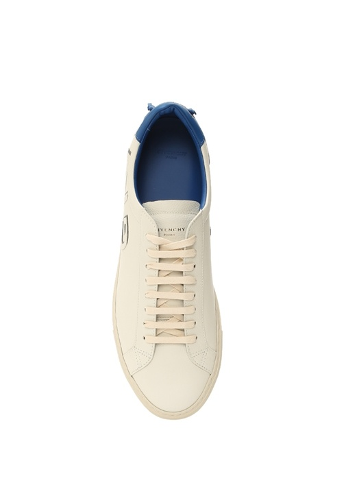 Urban Street Beyaz Mavi Logolu Erkek Deri Sneaker
