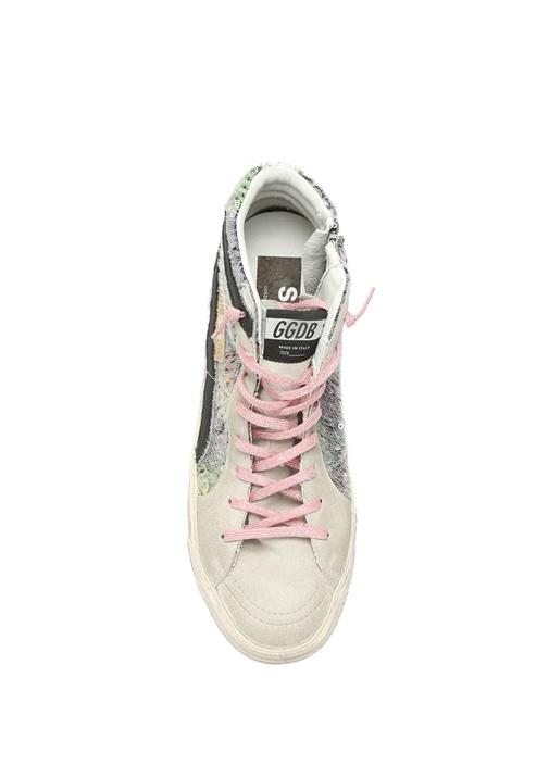 Slide Gri Pulpayet İşlemeli Logolu Kadın Sneaker