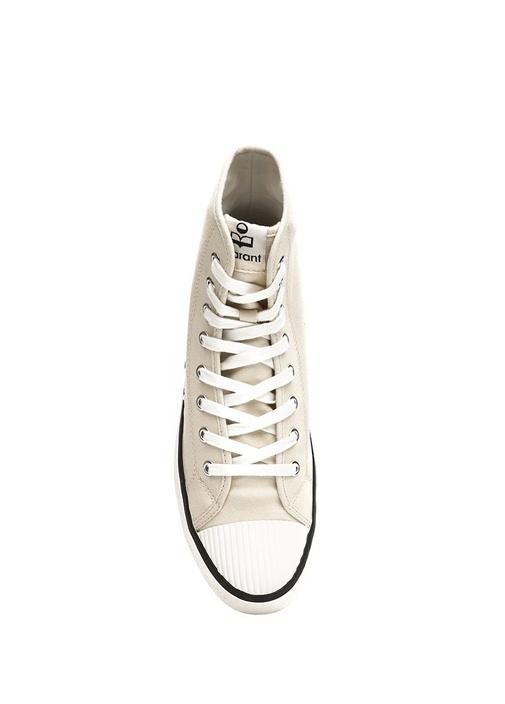 Benkeen Ekru Logolu Kadın Kanvas Sneaker