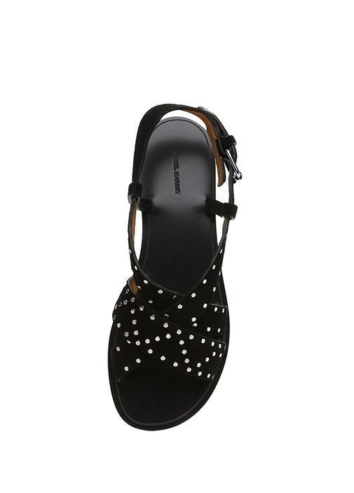 Jano Siyah Çapraz Bantlı Kadın Süet Sandalet