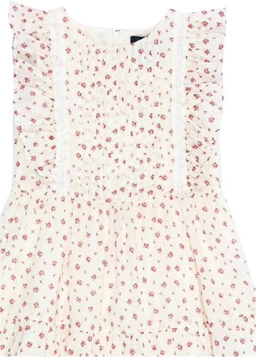 Beyaz Çiçek Desenli Fırfırlı Kız Çocuk Elbise