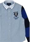 Mavi İngiliz Yaka Logo Patchli Erkek Çocuk Gömlek