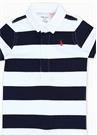 Lacivert Beyaz Çizgili Logolu Erkek Bebek Tulum