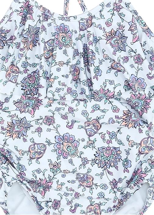 Beyaz Mor Çiçek Desenli Fırfırlı Kız Çocuk Mayo