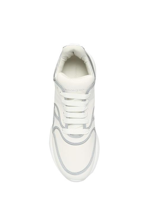 Oversize Beyaz Gri Erkek Deri Sneaker