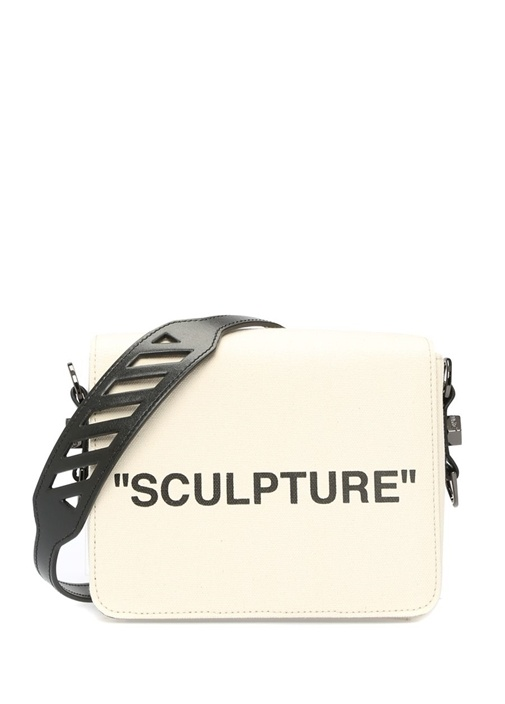 Sculpture Bej Baskılı Kadın Kanvas OmuzÇantası