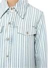Sivri Yaka Çizgili Yırtmaç Detaylı Denim Gömlek