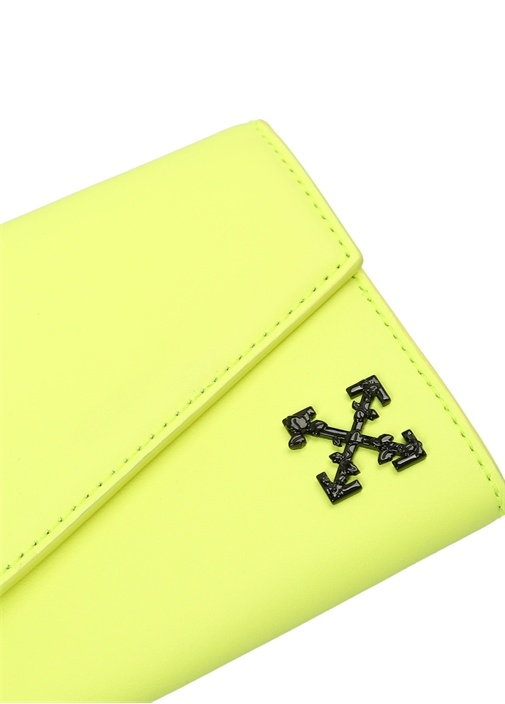 Neon Sarı Logolu Kadın Deri Cüzdan